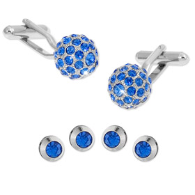 Cufflinks And Studs - Swarovski Crystal Balls By Enrico Pardini Silver Rhodium Cufflinks And Studs