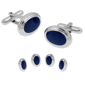 Blue Tuxedos - Oval Formal By Enrico Pardini Navy Blue Rhodium Cufflinks And Studs