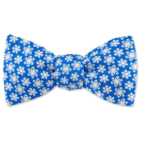 Winter Snowflakes Freestyle Bowtie by Wild Ties - Parisian blue Silk