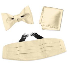 Bow Tie - Bleached Sand Freestyle Bow Tie By Elite Solid Gold Silk Cummerbund Sets