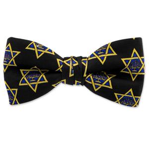 Hanukkah Menorah and Star by Wild Ties black silk pretied bowties