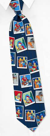 The Simpsons Ties - Simpson Holiday Photos By The Simpsons Navy Blue Polyester Ties
