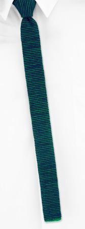 Knit Ties - Partridge Stripe By Orsini Green Wool Knit Narrow Ties