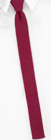 Knit Ties - Cardinal Red Skinny By Orsini Red Cotton Knit Narrow Ties