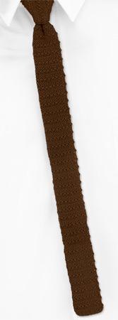 Skinny Ties - Brown Yarn Skinny By Orsini Brown Wool Knit Narrow Ties