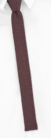 Skinny Ties - Chestnut Skinny By Orsini Brown Cotton Knit Narrow Ties