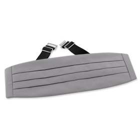 Tuxedo Accessories - Grey Cummerbund By Necktie Accessories Gray Silk Cummerbunds