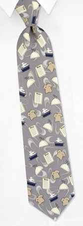 Chef Hat - Chef Tonal By Fun Ties Silver Polyester Ties