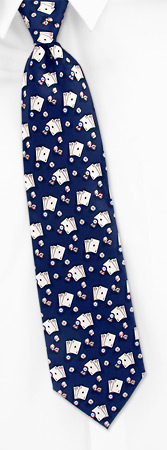 Aces Dice and Chips Tie by Tango - Max Raab -  Navy blue Silk