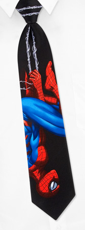 Boys Ties - Spiderman Upside Down By Marvel Comics Black Polyester Boys Clipon Ties