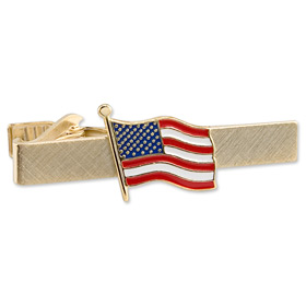 Tie Clips - American Flag By Competition Gold Metal Tie Clips