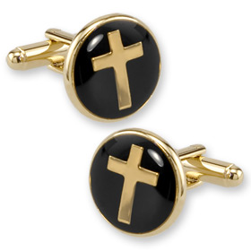 Gold Cufflinks - Round Cross By Competition Gold Gold Plated Cufflinks