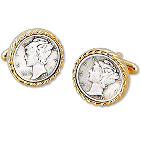 Gold Cufflinks - Mercury Dime By Competition Gold Metal Cufflinks