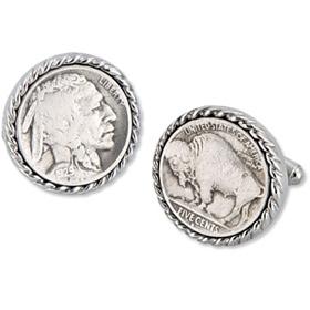 Buffalo Nickel Cufflinks - Buffalo Nickel By Competition Silver Metal Cufflinks