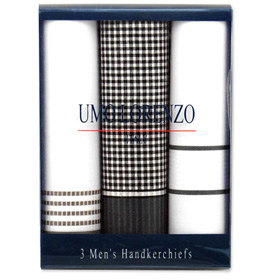 Handkerchiefs - Fancy 3 Pack Hankies By Umo Lorenzo White Cotton Handkerchiefs