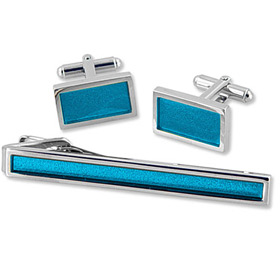 Tie A Necktie - Solid Turquoise Set In Tin Box By Necktie Accessories Turquoise Silver Plated Clip And Cufflinks