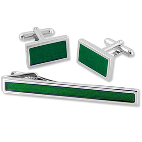 Cufflink - Solid Green Set In Tin Box By Necktie Accessories Silver Silver Plated Clip And Cufflinks