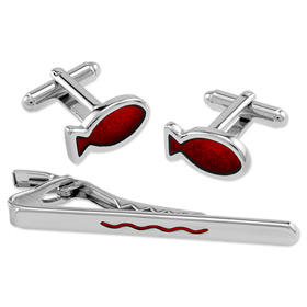 Wedding Accessories - Red Fish And Wave In Tin Box By Necktie Accessories Silver Silver Plated Clip And Cufflinks