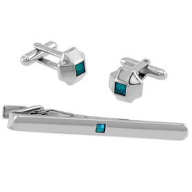 Tie Clip - Turquoise Center In Tin Box By Necktie Accessories Turquoise Silver Plated Clip And Cufflinks