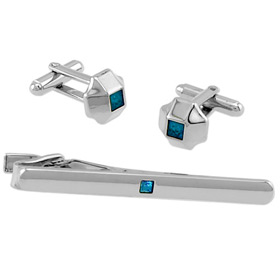 Cufflink - Blue Center In Tin Box By Necktie Accessories Silver Silver Plated Clip And Cufflinks