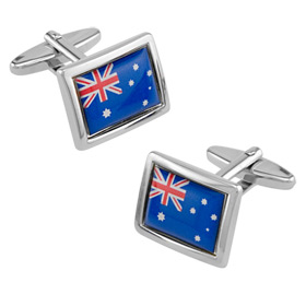 Australian Cufflinks - Australian Flag By Umo Lorenzo Silver Silk Cufflinks