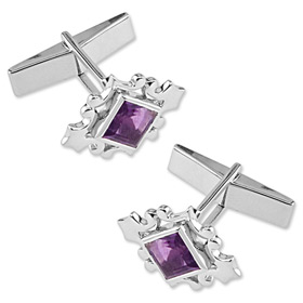 Sterling Silver Cufflinks - Orchid Amethyst By Novica Silver Sterling Silver Cufflinks