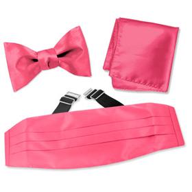 Tie A Tie - Fuchsia Freestyle Bow Tie By Elite Solid Pink Silk Cummerbund Sets