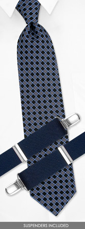 Suspender - Boys Contemporary By Dockers Navy Blue Silk Tie And Suspender Set