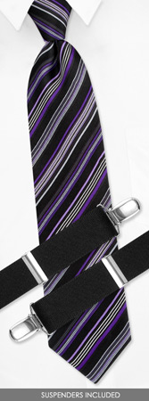 Boys Suspenders - Boys Stripes By Dockers Black Silk Tie And Suspender Set