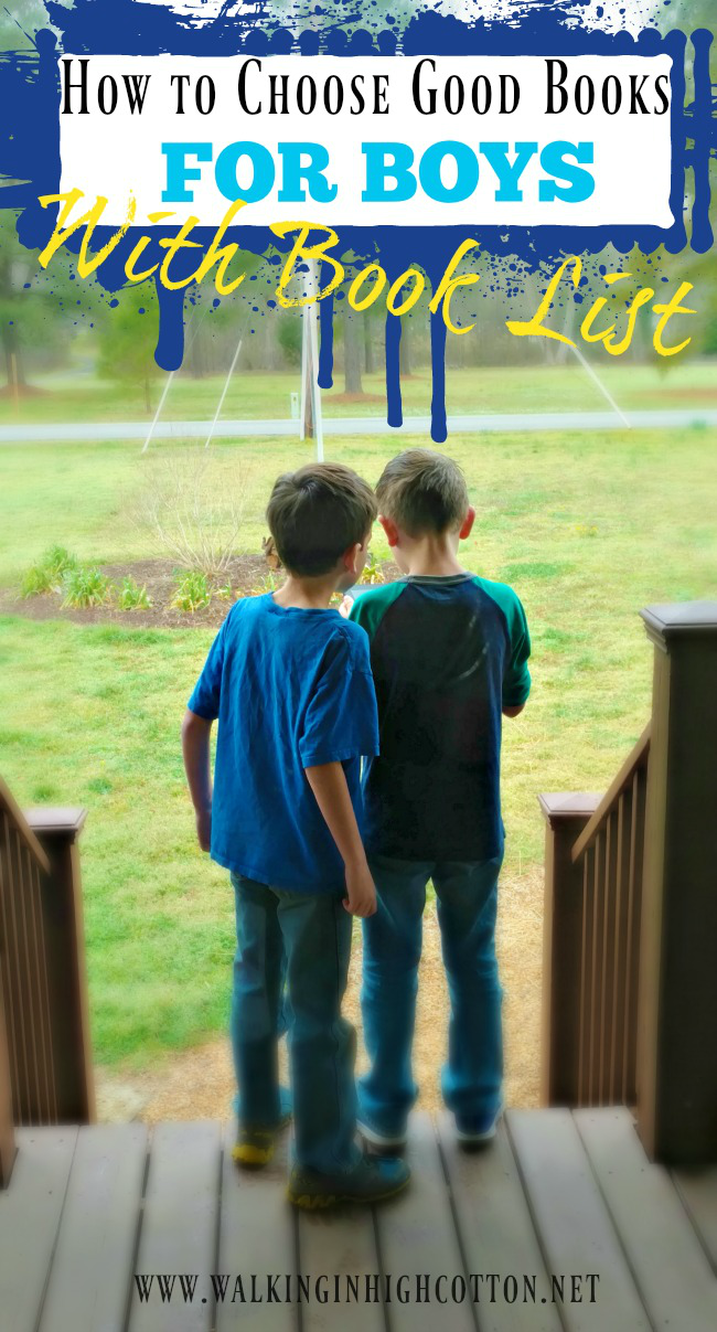 How to choose good books for boys w/a book list via Walking in High Cotton
