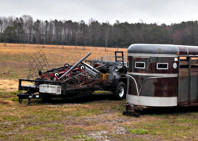 We recycled that whole pile of scrap metal--but not our horse trailer! That's up for a re-paint this year.
