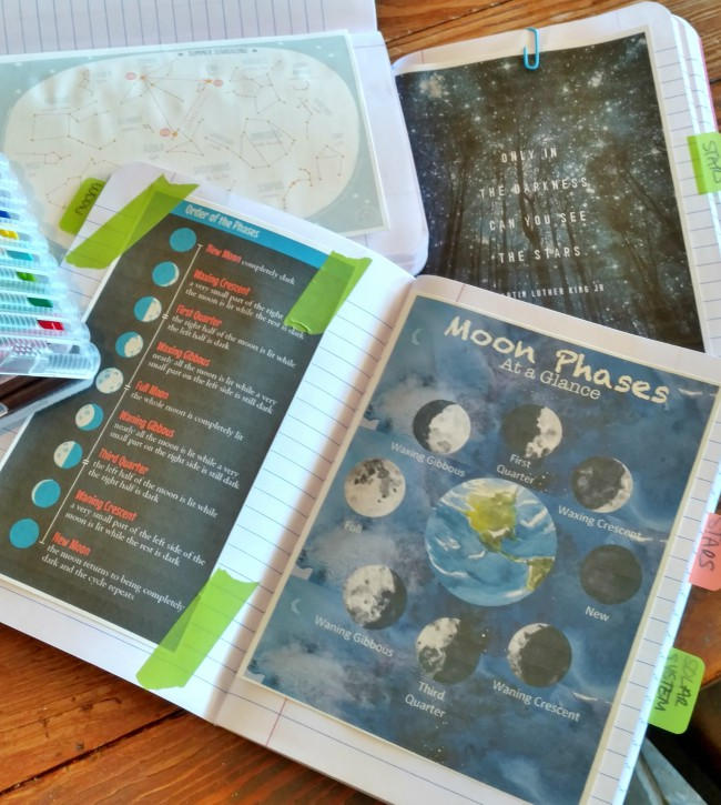observation journals for family astronomy unit study via Walking in High Cotton