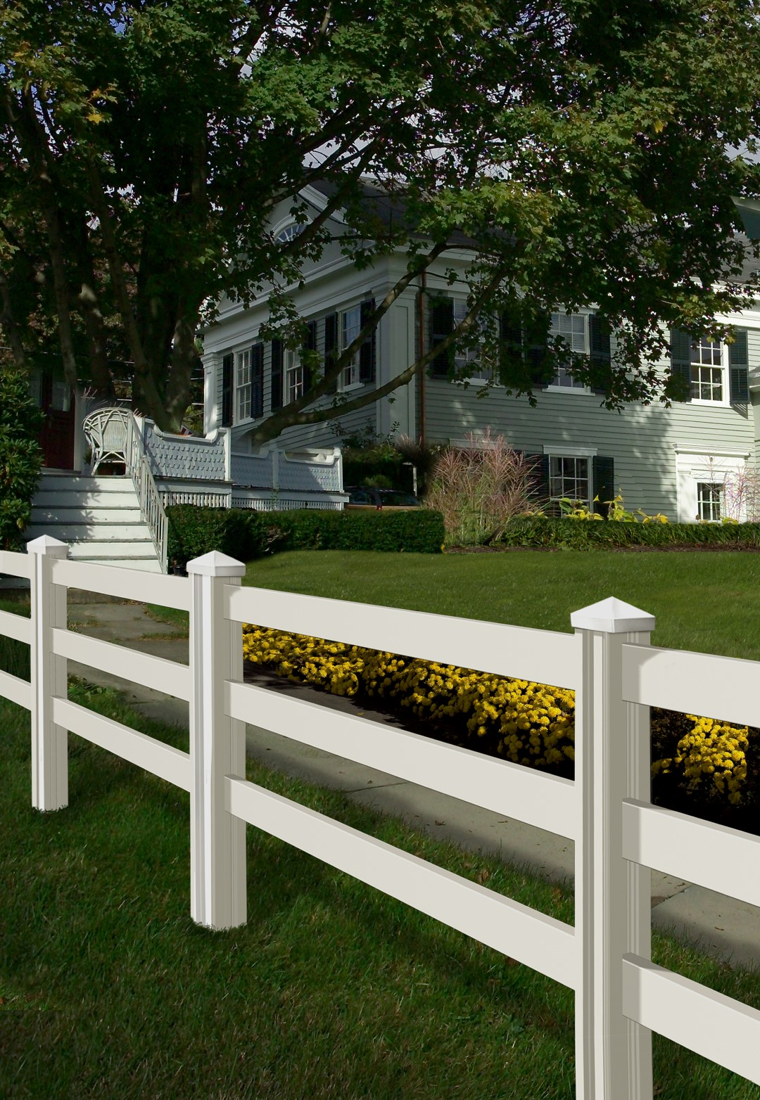 3 Rail Vinyl Fence With Posts Wambam Fence