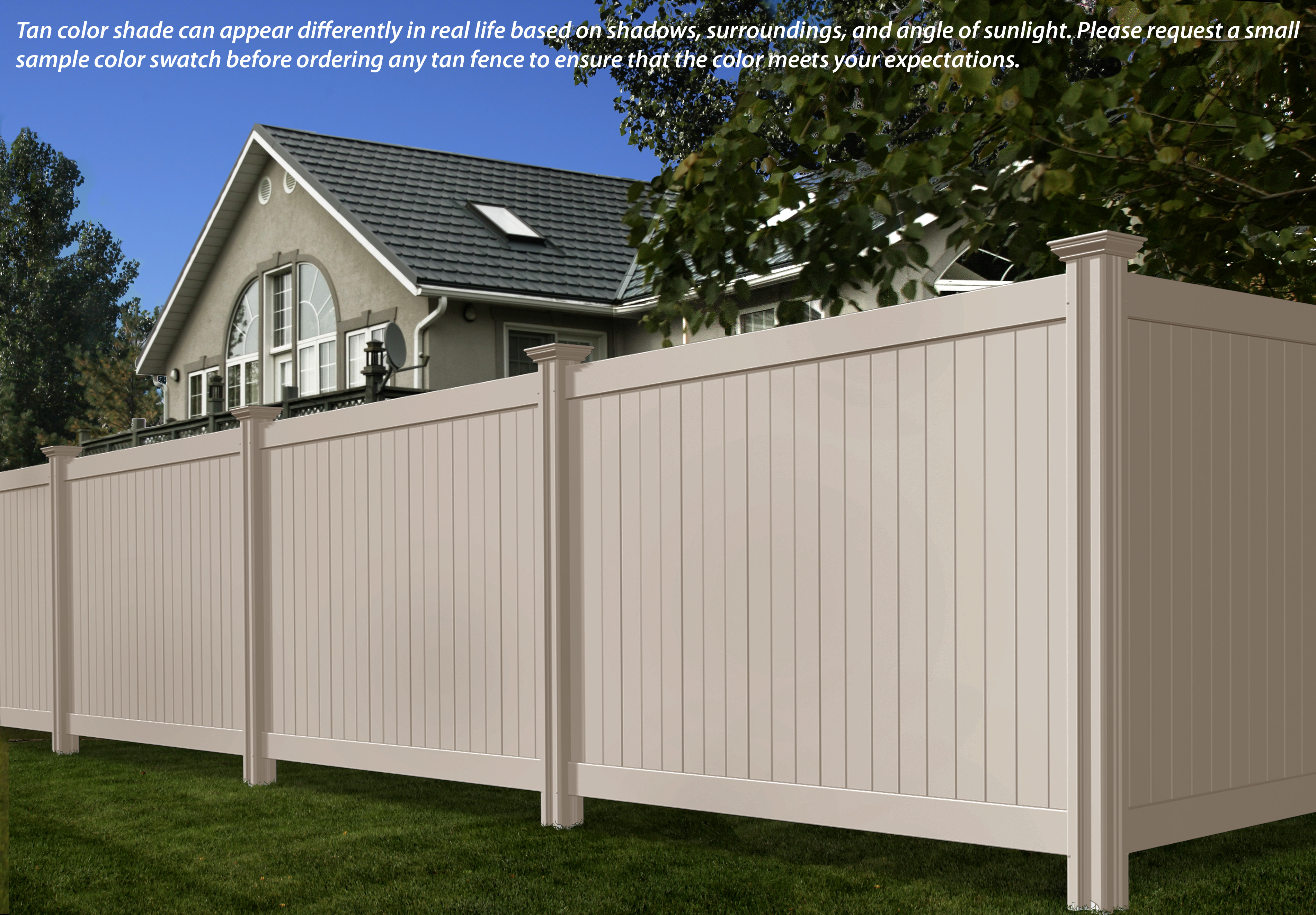 Steady freddy vinyl fence tan or almond color wambam