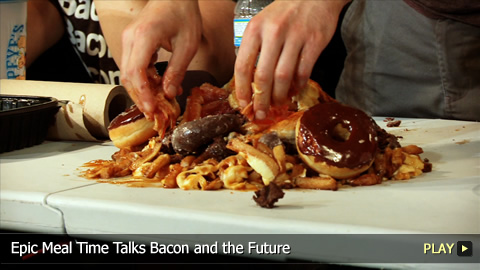 Epic Meal Time Talks Bacon, Turbaconepicentipede and the Future