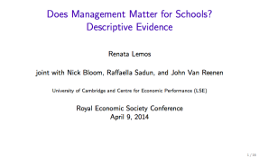 Does Management Matter for Schools? Descriptive Evidence