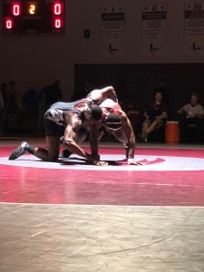 Jordan Gabriel (Colonel Richardson) attempts to escape from Jordan Bishop (Snow Hill) in the 195 lb. finals.