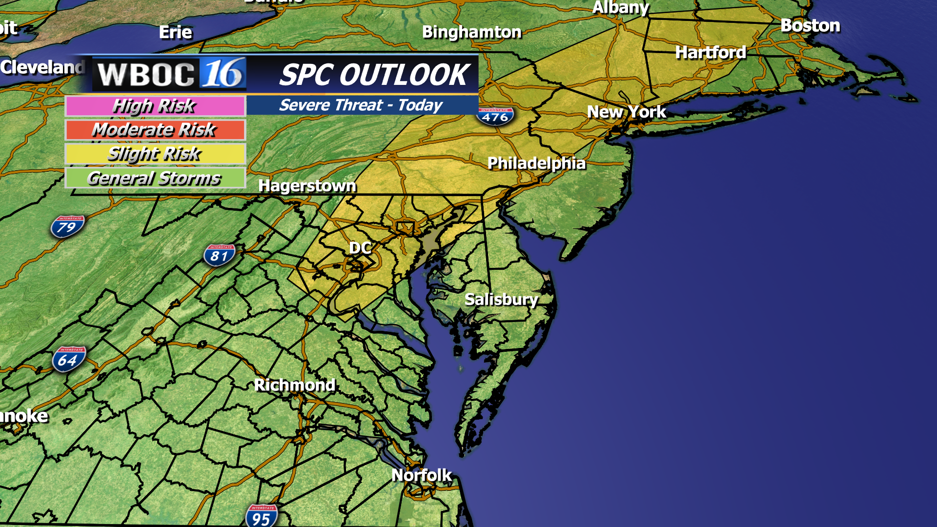 The Storm Prediction Center has northern and eastern Delmarva and the I-95 corridor under a SLIGHT risk for severe weather.