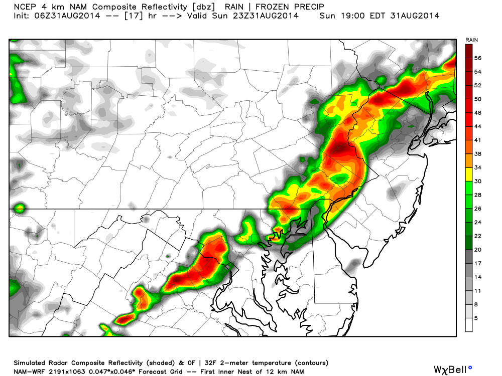 This is the NAM 4km Forecast at 7PM this evening. Image Courtesy: WeatherBell LLC.