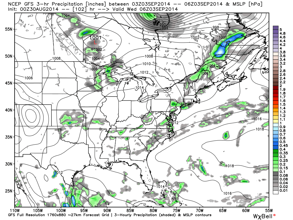 GFS Forecast for Wednesday at 1AM. Image Courtesy: WeatherBell LLC.