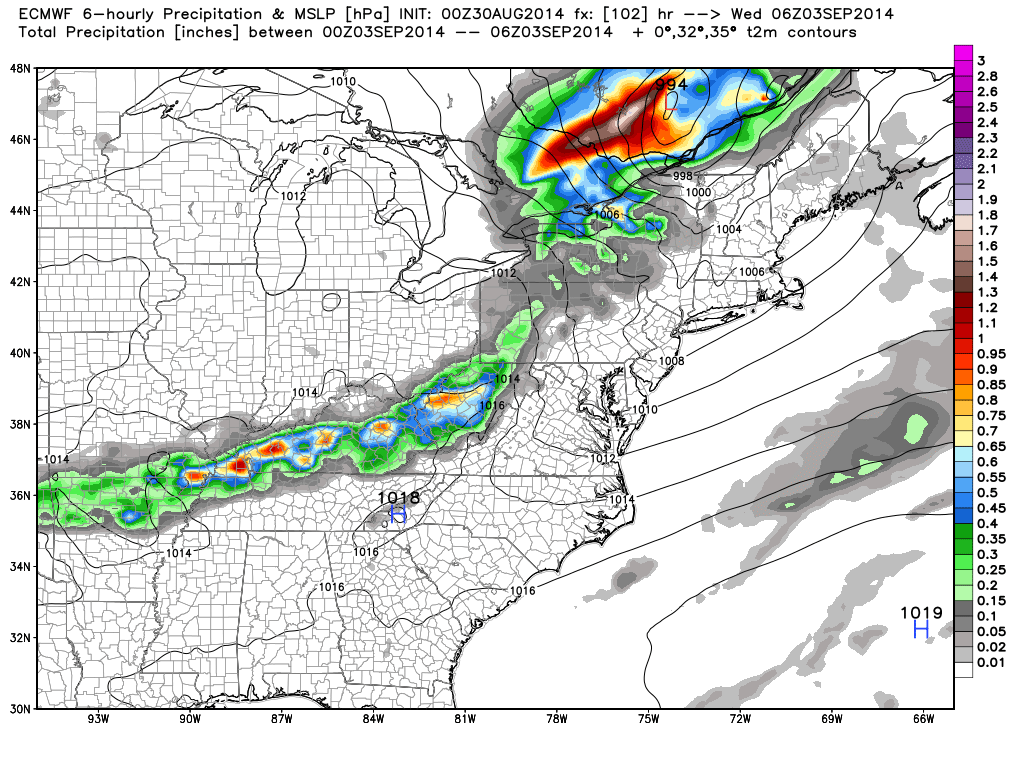 ECMWF Forecast for Wednesday at 1AM. Image Courtesy: WeatherBell LLC.