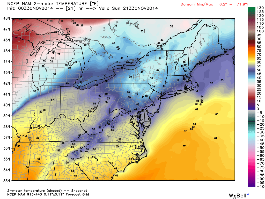 NAM Forecast of 2m Temperatures on Sunday at 1pm. Image Courtesy: WeatherBell LLC.