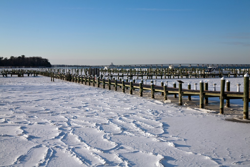 A frozen Choptank River near Cambridge, in early 2014. Picture by Metr. Dan Satterfield.