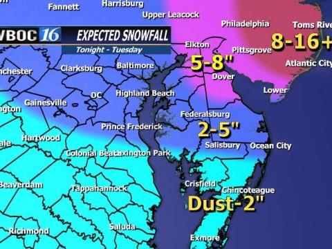 Here is our most likely snowfall forecast for Delmarva as of 5 PM Monday Jan 26.