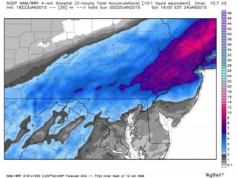 NOAA Model forecast of snow tonight and tomorrow.