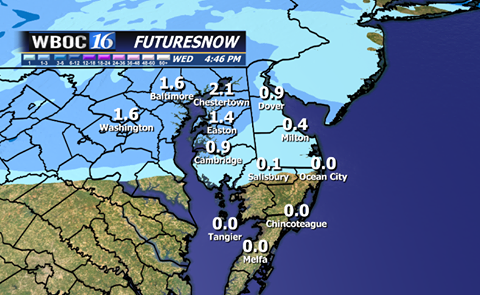 High resolution numerical weather guidance shows up to an inch or so of snow over Northern Delmarva Tuesday morning.