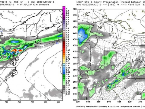 Comparison of Sunday Forecast from ECMWF and GFS. Image Courtesy: WeatherBell LLC.