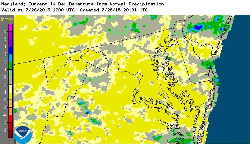 Rainfall anomaly last 14 days.