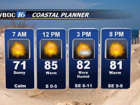 Forecast for areas near the coast Saturday.
