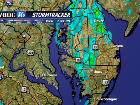 This is an estimate of rainfall from the scattered storms across Delmarva during the day Wednesday.